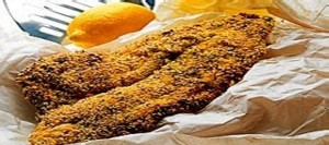 Fried Plaice Fillets with a Herb and Polenta Crust