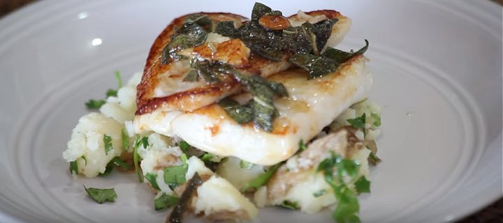 Plaice with Sage and Garlic Butter