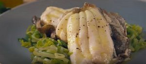 Lemon Sole with Leeks and Honey Mustard Dressing
