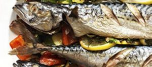 Mackerel Stuffed with Roasted Vegetables
